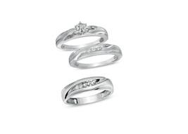 Men's & Ladies 14k White Gold Finish 925 Silver Wedding Engagement Trio Ring Set - $152.99