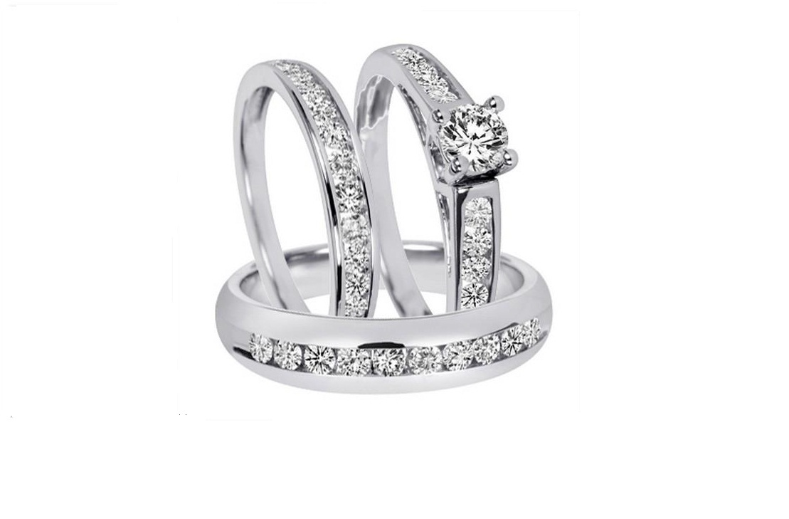 Primary image for Simulated Diamond Trio Wedding Ring Set In 14k White Gold Fn 925 Sterling Silver