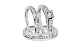 Simulated Diamond Trio Wedding Ring Set In 14k White Gold Fn 925 Sterling Silver - $128.99
