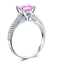 925 Sterling Silver Engagement Ring Princess 1.5 Carat Fancy Pink Lab Diamond - $129.99