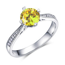 925 Sterling Silver Engagement Ring Vintage 1.25 Ct Yellow Canary Lab Diamond - $99.99