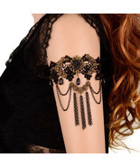 Gypsy Gothic Balck Lace Tassel Chain Upper Arm Cuff Armlet Armband Bracelet New - £4.62 GBP