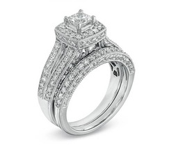 White Rhodium Finish 925 Silver Princess Cut Sim Diamond Bridal Wedding Ring Set - $74.63