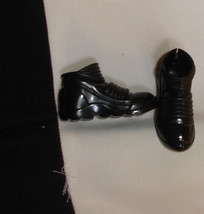 Ken doll high top all black boots shoes for fashionista feet heavy vinyl... - $6.99