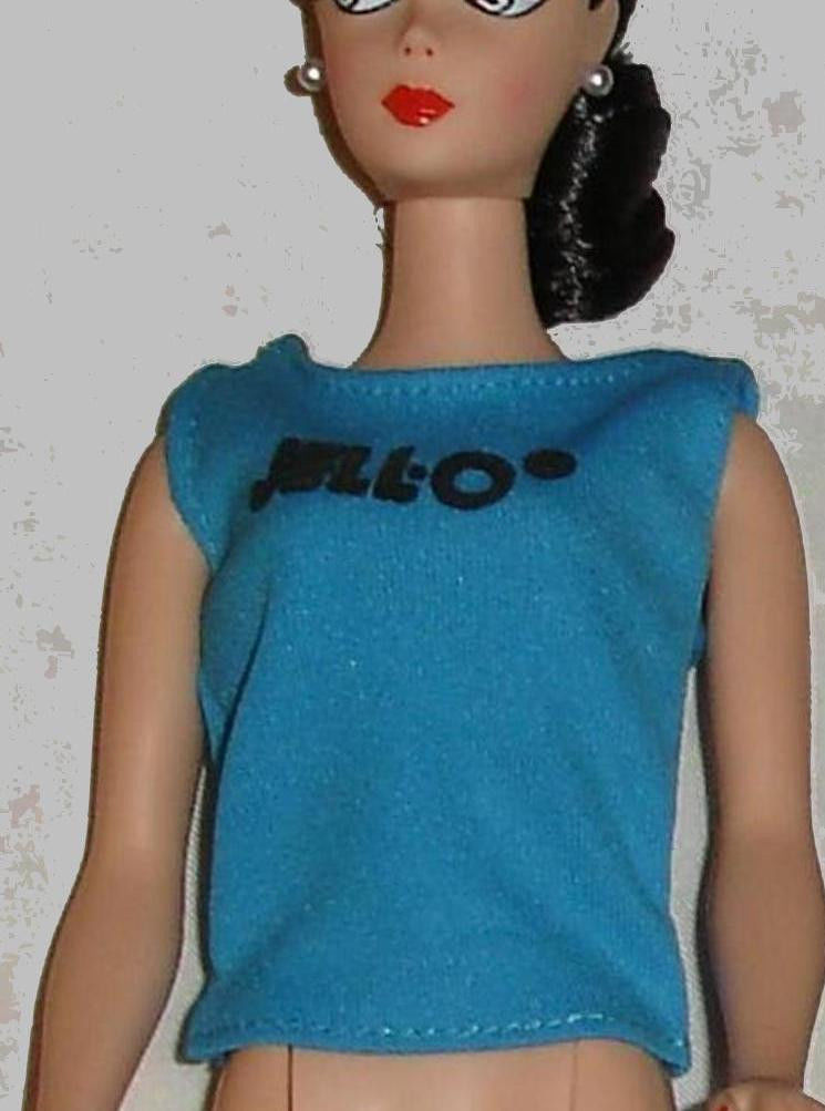 Primary image for Fashion doll clothes Jello shirt blue with black letters for Barbie from 1986