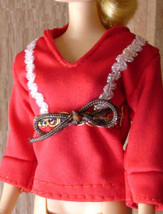 Barbie doll clothes festive red holiday party shirt top - $6.99