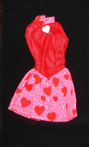 Barbie doll clothes Valentines Day dress w purple B tag an heart button ... - $7.99