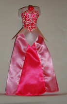 Barbie doll formal gown dress pink tones w white glittery trim princess ... - $6.99