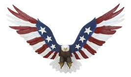 Freedom Glory Large Flying American Flag Tattoo Bald Eagle Wall Plaque D... - $52.99