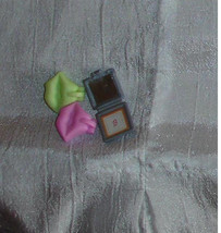 Barbie doll accessory miniature make up compacts B monogram and kissing ... - $7.99