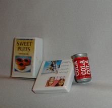 Barbie doll accessory lot food candy box with faces cola can and sweet p... - $7.99