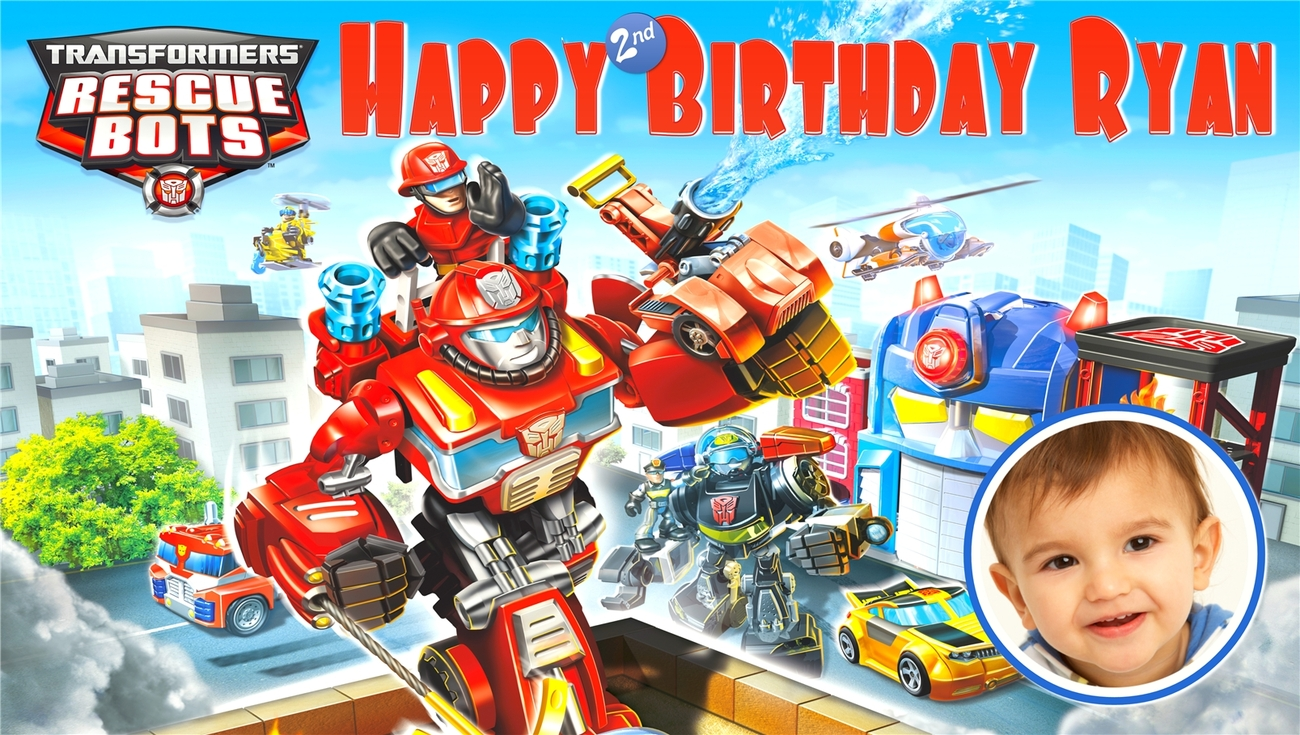 Transformers Rescue Bots -Personalized- Vinyl Birthday Banner Decoration w/ Phot