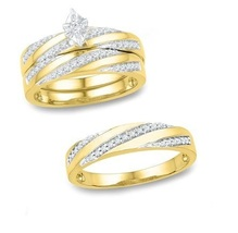 Men's Women's Sim Diamond Engagement Trio Ring Set In 14k Yellow Gold Finish - $135.87