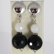 Silver EARRINGS 925 Rhodium Pendant with Onyx Black and Quartz Grey image 1