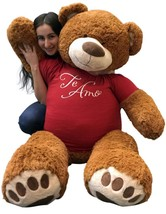 5 Foot Giant Teddy Bear 60 Inches Cinnamon Brown Color Wears TE AMO T-shirt New - $97.11