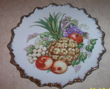 Gold trim pineapple fruit scalloped edge plate thumb155 crop