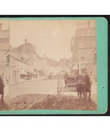 BANGOR MAINE 1870s PHOTO STEREOVIEW - Town View & Kenduskeag Bridge - $59.95