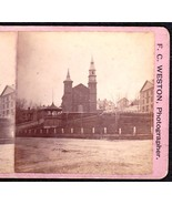 BANGOR MAINE 1870s PHOTO STEREOVIEW - Universalist Church & Center Park - $49.95