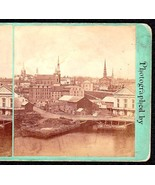 BANGOR MAINE 1870s PHOTO STEREOVIEW - Panoramic View from Court Street - $74.95