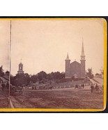BANGOR MAINE 1871 PHOTO STEREOVIEW - Universalist & Baptist Churches - $74.95
