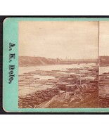 BANGOR MAINE 1870s PHOTO STEREOVIEW - Docks Above the Bridge - $49.95