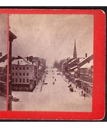 BANGOR MAINE 1870s PRIVATE LARGE PHOTO STEREOVIEW - Main Street Scene - $74.95