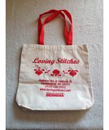 """Loving Stitches Qulit Shop Bernina Red & White Canvas Tote Bag 14"""" X 14"""" - $19.99"""