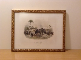 An Elephant Fight Framed Picture Print by Selmar Hess New York