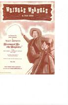 "SHEET MUSIC   1956  "" WALT DISNEYS  WESTWARD HO THE WAGONS  WRINGLE WRAN... - $4.95"