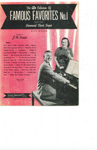 """SHEET MUSIC   1956  """"FAMOUS FAVORITES NO 1 FOR THE HAMMOND ORGAN"""" - $4.95"""