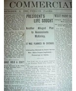McKINLEY ASSASSINATION ATTEMPT NEWSPAPER OCTOBER 4 1900 - $75.00