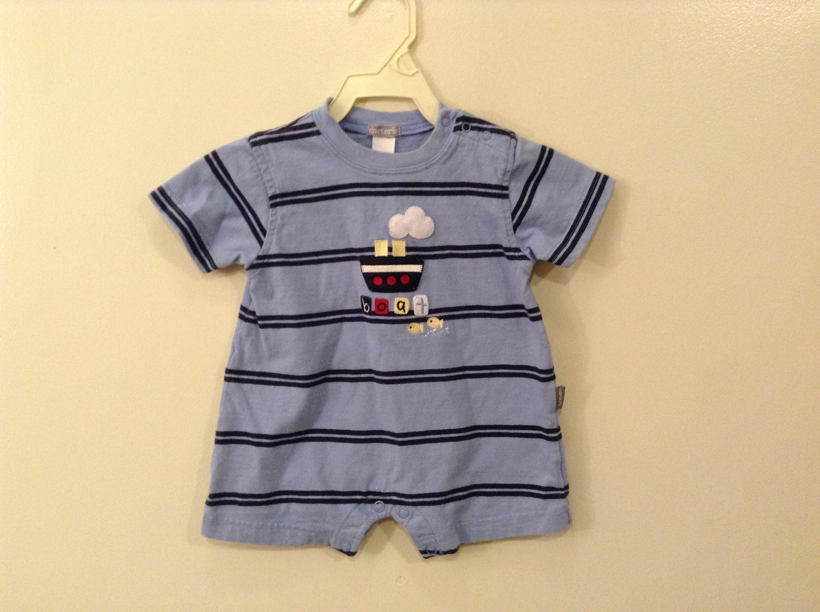 Carter's Boys Summer Bodysuit Outfit Blue striped 100 % Cotton size 6 month