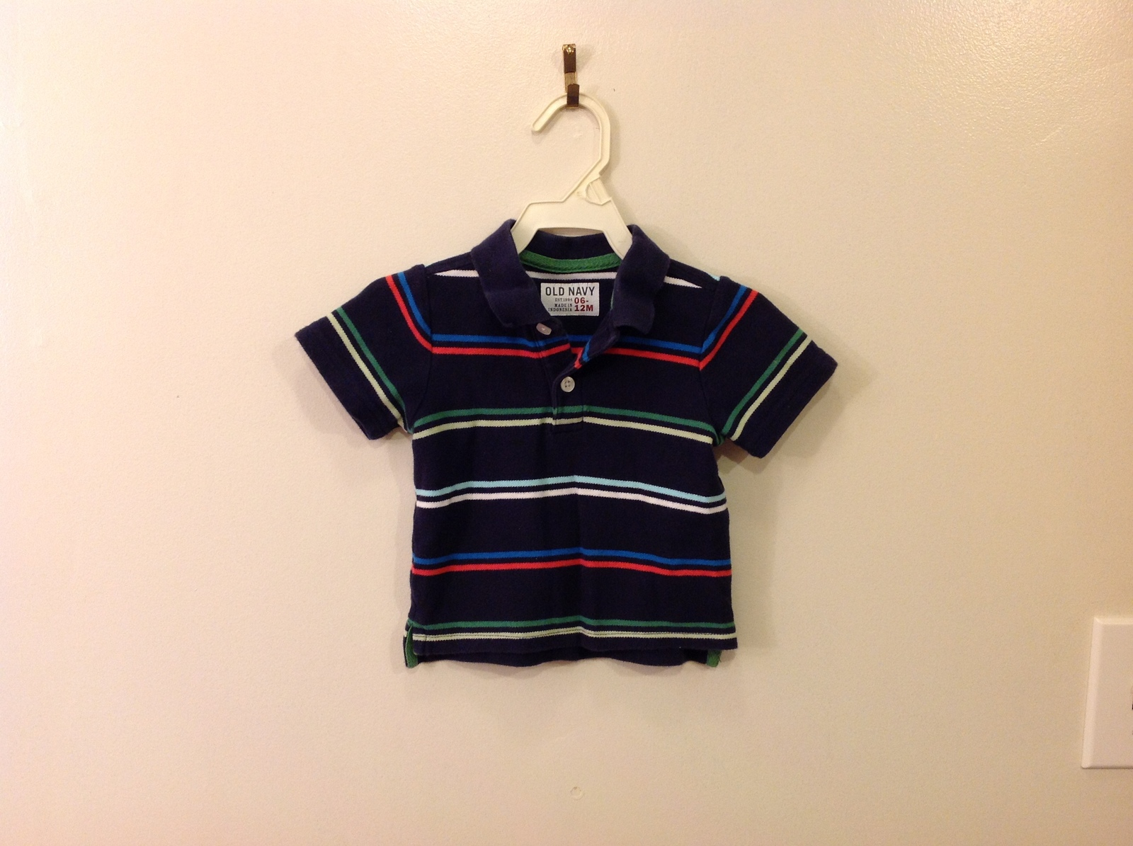 Old Navy Baby Boy Navy Blue Striped Polo style T-shirt 100% Cotton size 6-12 mo
