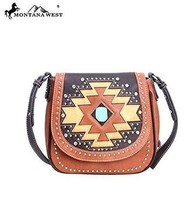 Montana West MW105-8287 Aztec Collection Western Handbag Purse-Brown - $47.03