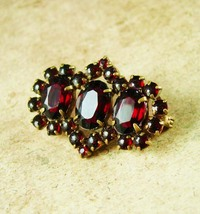 Antique CZECH SIGNED GARNET Brooch Red brass Czechoslovakia C clasp Vint... - $125.00