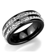 Women's 8mm Black Ceramic 2 Row Crystal Eternity Wedding Band Ring Size ... - $22.05