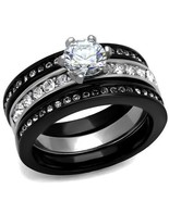 Women's Black Stainless Steel CZ Engagement & Wedding 3 Ring Set Size 5 ... - $24.75