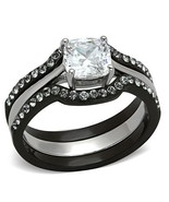Women's Black Stainless Steel CZ Engagement & Wedding Ring Set Size 5 - 10 - $24.75