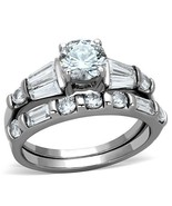 Women's Stainless Steel 1 Carat CZ Engagement & Wedding Ring Set Size 5-10 - $19.35