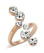 Women's Rose Gold Tone 6 Round Crystal Fashion Statement Ring Size 9 - $17.50