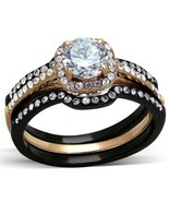 Women's Black & Rose Gold Tone Stainless Steel CZ Wedding Ring Set Size ... - $23.38