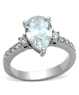 Women's 3 Carat Silver Stainless Steel Pear Cut CZ Engagement Ring Size 10 - $14.50