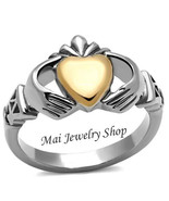Women's Silver & Rose Gold Stainless Steel Irish Claddagh Fashion Ring S... - $12.49