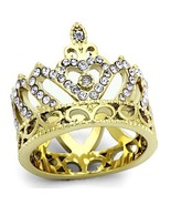 Women's Gold Tone Stainless Steel Crown Style Crystal Fashion Ring, Size... - $16.09