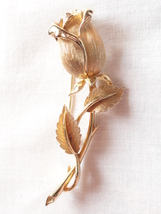 Lisner Gold Plated Rose Brooch - $26.00