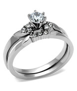 Stainless Steel Round Solitaire CZ Engagement Ring & Wedding Ring Set -S... - $13.05