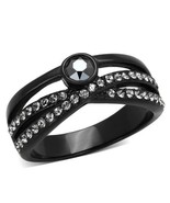 Women's Stainless Steel Black and Gray Crystal Fashion Right Hand Ring S... - $15.75