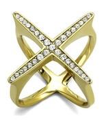 Women' Gold Tone Stainless Steel Crystal Cross Design Statement Ring Siz... - $22.05
