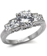 Women's 2 Carat Stainless Steel Antique Style 5 Stone CZ Engagement Ring... - $16.09