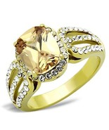 WOMEN'S GOLD TONE STAINLESS STEEL OVAL CHAMPAGNE CZ & CRYSTAL FASHION RI... - $22.50